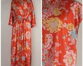 Asian inspired Vanity Fair red floral Peignoir Set 70s 80s mandarin collar full length nightgown robe lingerie negligee large