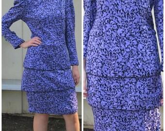 Purple Drop Waist Long Sleeve 80's Vintage Silk Dress by Maggy London |  Peplum Tiered Skirt | Small Medium Women