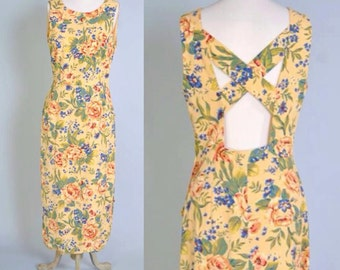 90s Floral Dress Vintage Cutout Back Detail Butter Yellow Floral 1990s Maxi Sleeveless Dress M L