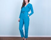 80's Blue Jumpsuit / Tiny Heart Print / Belted Hipster / Small