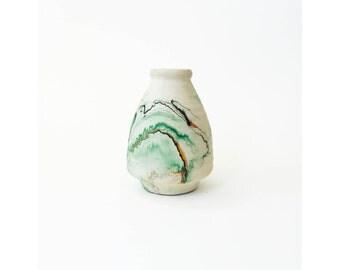 Vintage Nemadji Pottery Vase / Green Swirls