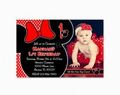 Red Polka Dot Minnie Mouse Birthday Party Invitation, Minnie Mouse Invitation, Red, Black, Personalized, Printable and Printed