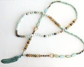 Long Boho Beaded Necklace with Turquoise Verdigris Metal Feather Patina Pendant