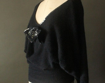 Vintage 80's Black Sequin Bow Dolman Sleeve Angora Pullover Sweater by Sylvia G Made in Italy for Robinsons