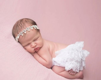 White Lace Bloomers and Headband Set, Newborn Photo Prop, Baby Girl Prop, Bloomer Set, Baby Girl Bloomers, Rhinestone Headband