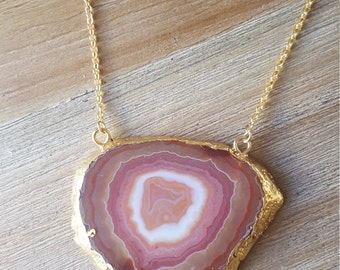 F O R E S T  A M U L E T // Gold edged agate slice natural history necklace