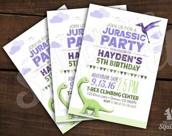 Dinosaur Theme Birthday Party Invitations -  Customizable - Printed, Birthday, pterodactyl, Brachiosaurus, Jurassic, prehistoric, dino