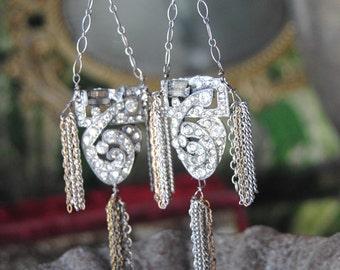 DECO TASSELS --Vintage Art Deco Fur Clip Sterling Vintage Chain Tassels EARRINGS
