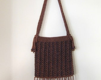 Vintage Walborg Boho Brown Beaded Shoulder Bag, Hippie Purse, 70's, Hand Made
