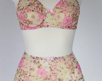Floral Sheer 6 strap Garter belt Transparent Suspender Belt - Size XS-2XL