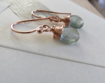Moss Aquamarine earrings with rose gold filled metals, rose gold earrings, march birthstone