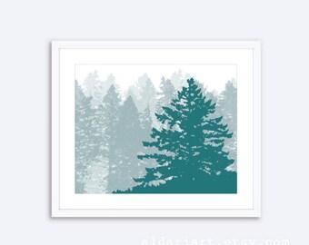 Pine Tree Print - Pine Tree Wall Art - Trees Art Print - Woodland Art Rustic Modern Decor - Custom Color - Dark Teal Color - Aldari Art