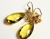 LP 1272 Stunning, Yellow Quartz Briolettes With Citrine And Crystal Quartz Chain Earrings