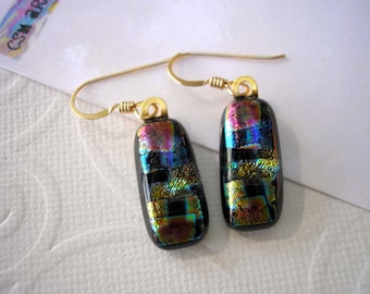 Dichroic Earrings Plaid on Black 14K Gold French Hooks Uniquely Shaped By Hand Blue, Gold, Red, Black Dangles for Pierced Ears Fused Glass