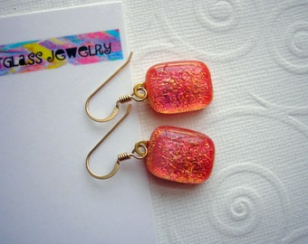 Dichroic Glass Jewelry Pumpkin Shimmer Earrings 14K Gold Earwires Color Shifting Rectanglar Cabochon Dangles Kiln Fired Dichronic Boho