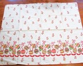 1950s Christmas Border Fabric Novelty Print Fabric Christmas Ornaments with Red Ribbon and Bows