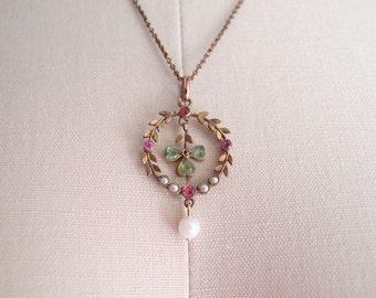 "R E S E R V E D """" antique clover necklace / Edwardian Laurel Leaf Wreath Shamrock Lavalier Pearl & Peridot paste gemstone pendant"