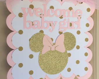 Pink and Gold Minnie Mouse Birthday Sign birthday party