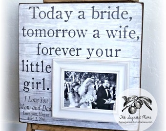 Father of the Bride Gift, Beach Wedding, Parent Wedding Gift, Wedding Gift for Parent, Picture Frame, Parent of the Bride Gift, 16x16