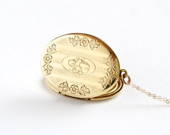 """Vintage Mid-Century Large Oval Locket Necklace - 1940s 1950s 10k Gold Filled Monogrammed """"CLS"""" Pendant Engraved Initial Jewelry"""