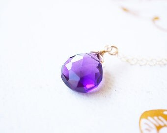 Necklace, Amethyst Necklace, Gold Necklace, Gemstone Necklace, Purple Necklace, Handmade Necklace, Birthstone Necklace, Gift for Her