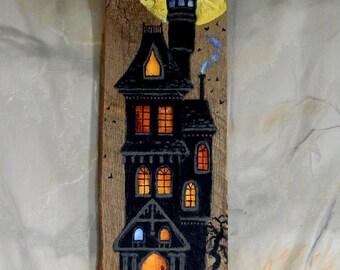 "Spooky Manor, Halloween barnwood, hand painted, original art, 6"" x 21"""