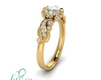 Leaf Flower Moissanite Diamond Engagement ring
