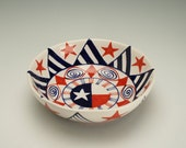 Bowl Red White Blue Stars and Stripes Hand Painted Colorful Personal or Medium Serving Bowl