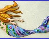 Mermaid - Painted Metal Wall Hanging, Funky Art, Metal Wall Art, Whimsical Art Design, Haitian Art, Garden - Poolside  Decor - J-475-PU