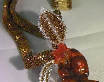 Fire Agate Necklace in Fired Gold beads