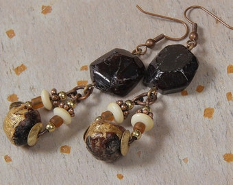 Garnet Mala Earrings: rough garnet nuggets, Mala prayer beads, bone, copper, brass