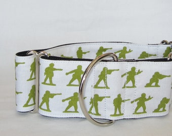 SALE LAST ONE Army Men Martingale Dog Collar - 1.5 or 2 Inch - little green military soldier olive white gun vintage toy war