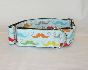 Mustache Colors Martingale Dog Collar - 1.5 or 2 Inch - handsome colorful facial hair blue green yellow gray red fun