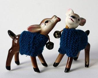 blue sweater deer pair