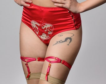 LEIANA Candy Red silk satin high waist Thong with jeweled buttons, pin up Red Lingerie