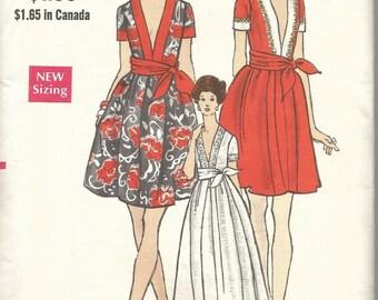 1960s Cocktail Dinner Evening Plunging V Neckline Short Sleeves Sash Vogue 7707 Uncut FF Size 10 Bust 32.5 Women's Vintage Sewing Pattern