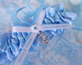 Nautical Wedding Garter , beautiful personalized blue satin and white Lace with anchor, name garter, lace garter