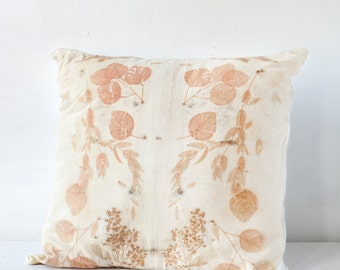 Coral Leaves Eco-Print Pillow