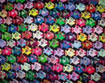 Fish Charm Polymer Clay Fish Charms Assorted Colors Set of 3 Handmade Polymer Clay Fish Charms Ocean Fish Charm Sea Animals Cute Fish Charm