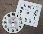 Vintage Alarm Clock Faces -- metal -- set of 2 -- D1