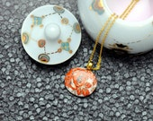 Porcelain necklace, white with gold and red flowers