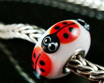 Lady Bugs fits Trollbeads European Charm Bead SRA Big Hole Bead