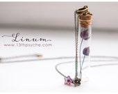 Tiny flax flowers Bottle necklace.Glass bottle pendant.Cute Necklace.Bronze necklace bottle terrarium flower necklace, pendant flower bud