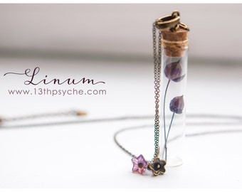 Tiny flax flowers Bottle necklace. Glass bottle pendant. cute Vial Necklace Bronze necklace miniature terrarium necklace, botanical jewelry