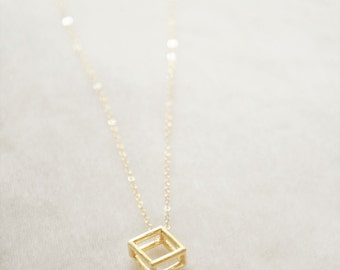 Gold Cube Necklace - Modern Necklace, Geometric Necklace, Dainty Necklace, Everyday Necklace, Delicate Necklace