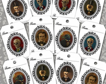 Gothic Gift Tags - Steampunk Gift Tags - Victorian Skull - Skeleton - Raven
