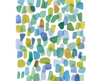 Original Abstract painting sea glass original painting, watercolor blue green yellow dots