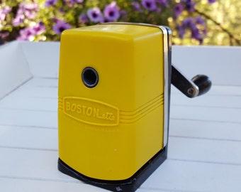 SALE - Bostonette Crank Pencil Sharpener - Yellow Boston - Oak Hill Vintage