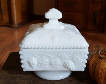 Westmoreland Milk Glass Paneled Grape Square Candy Dish - Oak Hill Vintage