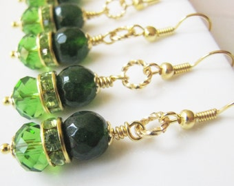 Green bridesmaid earrings, green wedding jewelry, green crystal earrings, gold plated green earrings, bridesmaid gift